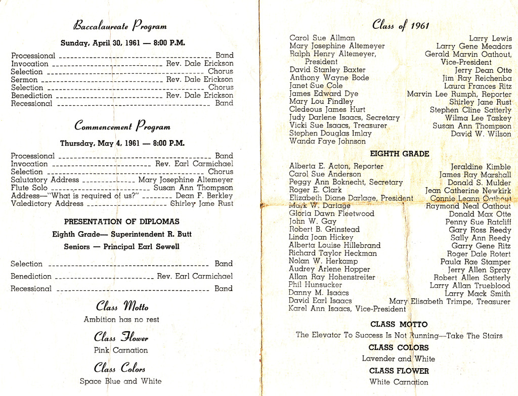 Cortland High School 1961 graduating class Graduation program