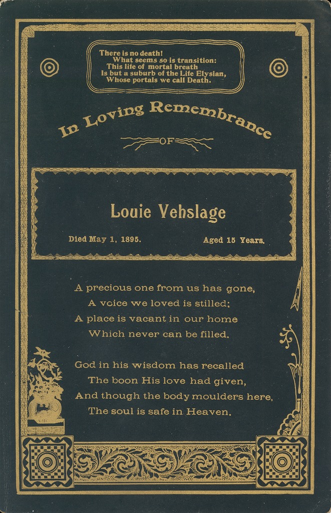 Black and gold remembrance of Louie Vehslage
