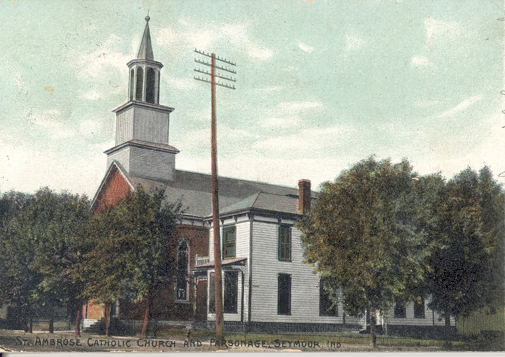 St. Ambrose Church and Parsonage, located on South Chestnut St., Seymour, IN,. Postcard by 1908 The American News Co., N. York, Leipzig, Berlin, Dresden, Germany - from Ida and Kenny Wehmiller, C-4.92x3.49