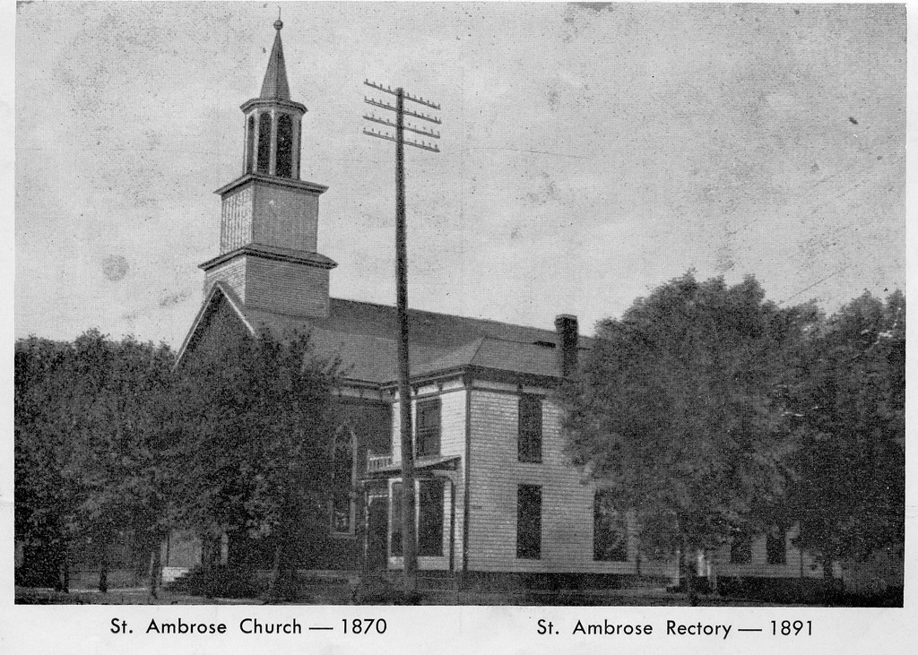 St. Ambrose Church built 1870 and Rectory built in 1891, located on S. Chestnut Street on the east side - from Marilyn Elkins, bw  6.5x4.5