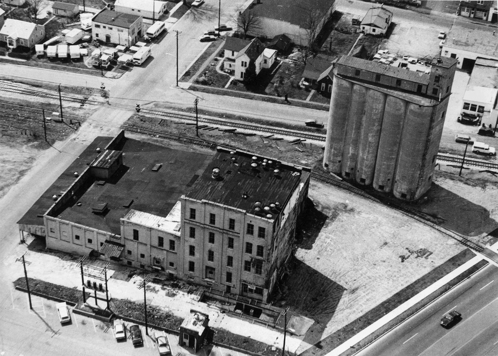 Aerial view Rebber-Blish Mill prior to 1975. Photography by Callahan, PO Box 506, Seymour, IN 47274
