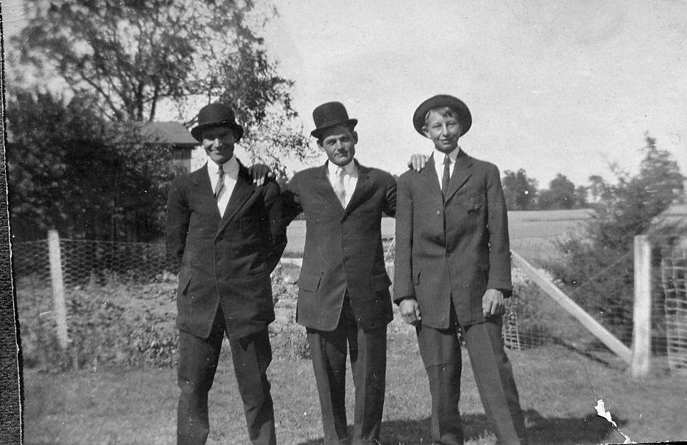 3 men, Man on left unknown, Ray Abel (died WWI), Harold Vehslage