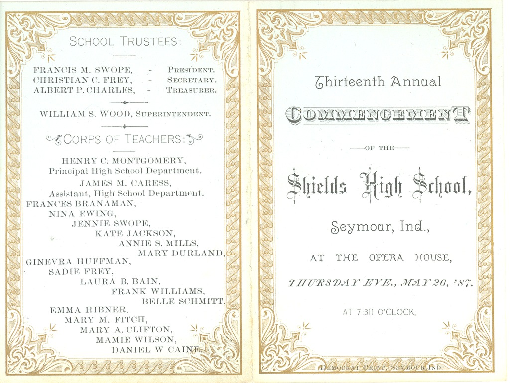 Outside of Invitation to 13th Commencement of May 26, 1887 - from R.R. (Phil) Robertson, bw 6.33x4.87