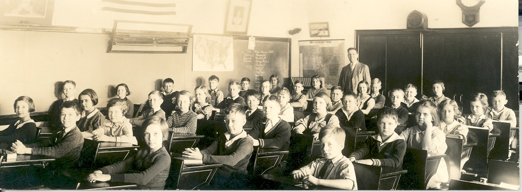 Emerson School 1930's, Mr. Ralph Collins, Principal. Front row, second seat Henry Montgomery, Second row, second seat George Gristle, others unknown.