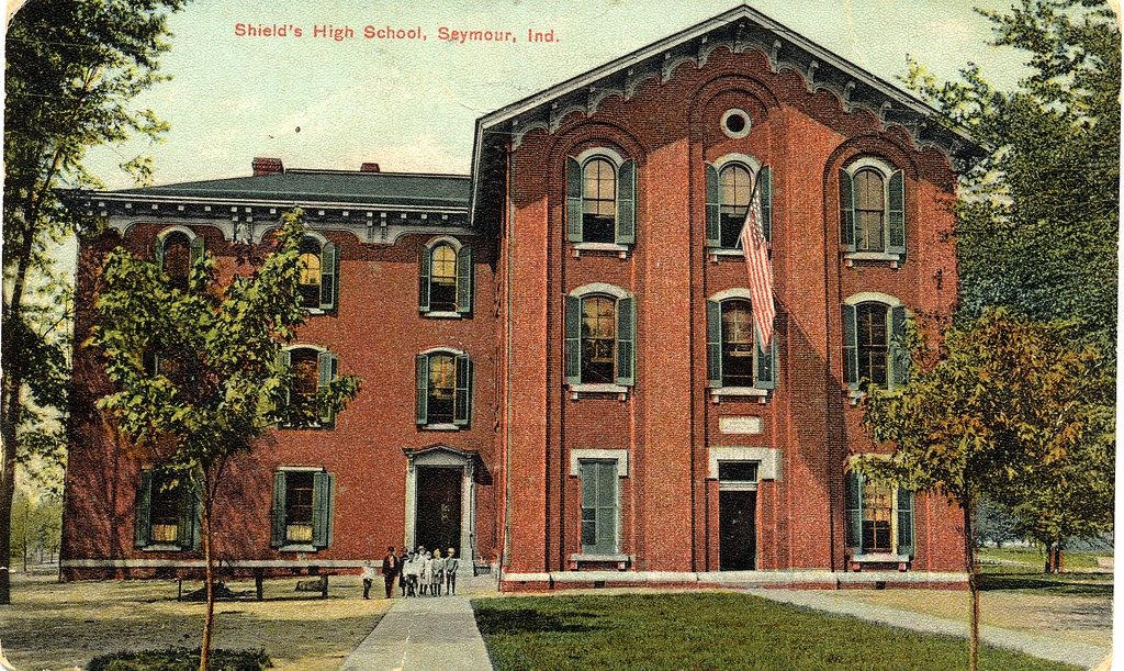 Shields High School, Seymour, IN, postcard to Mrs. A. E. Jones, 324 W. 2nd, Seymour, Indiana, dated May 29, 1911 - from Leo