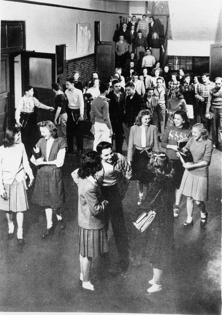 Seymour High School interior, open door went to study hall