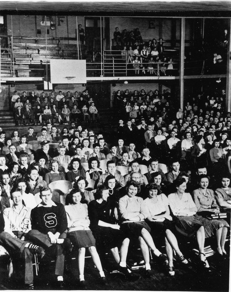 Ca. 1956, old Girls' Gym at Seymour High School, students unidentified.