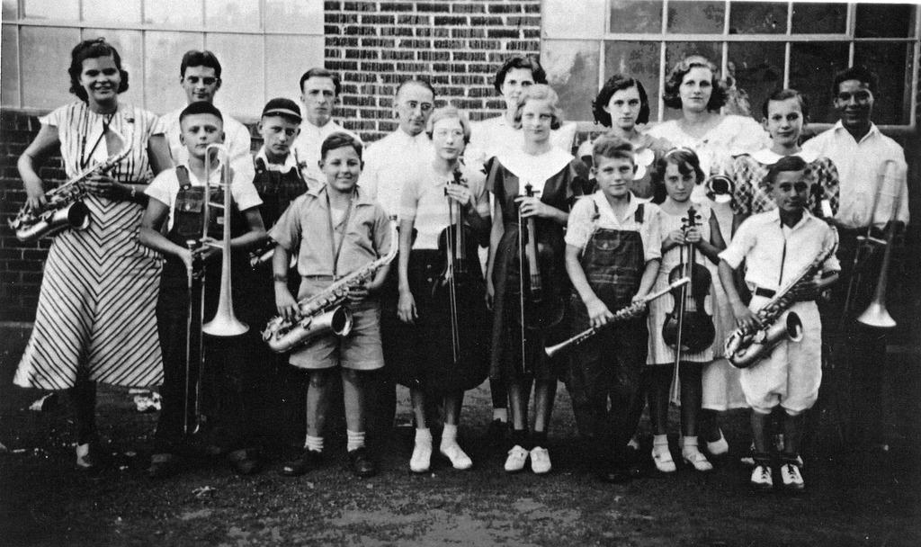 Freetown School Orchestra in 1934-35 - from Winfred (Bud) Cornett, bw 7.41x4.4