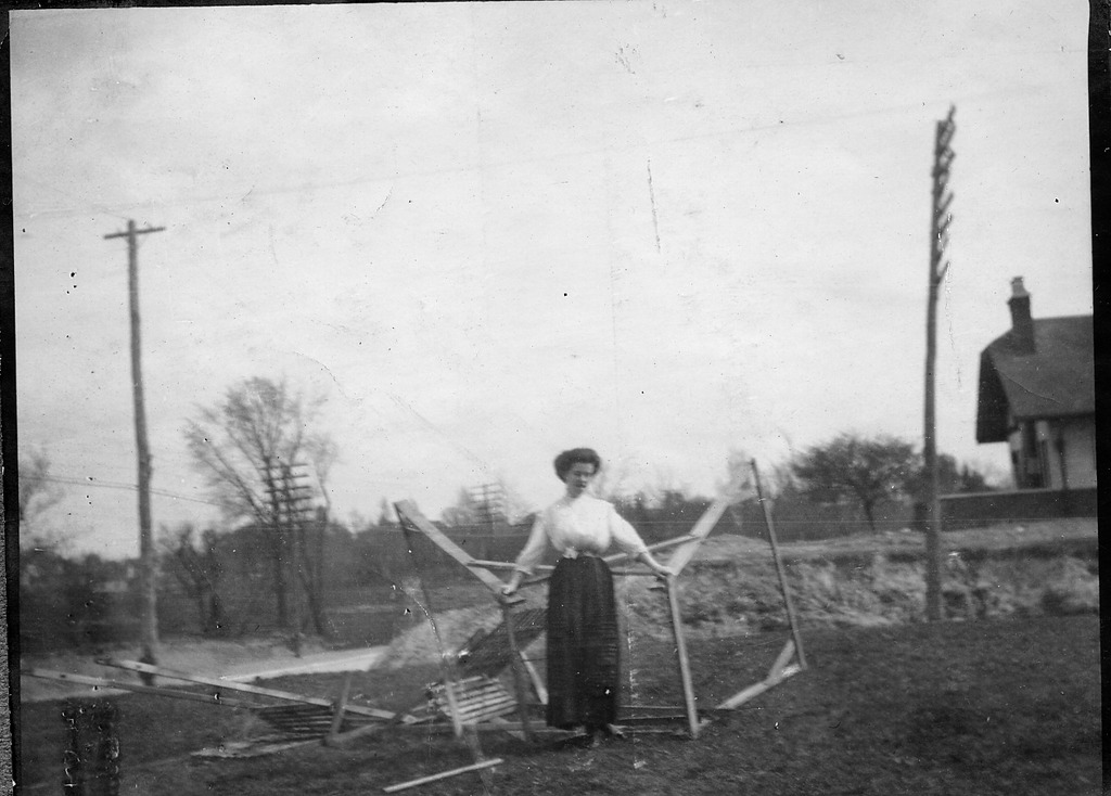 Lady with overturned swing set
