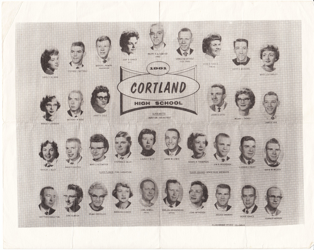 Cortland High School 1961 graduating class photo