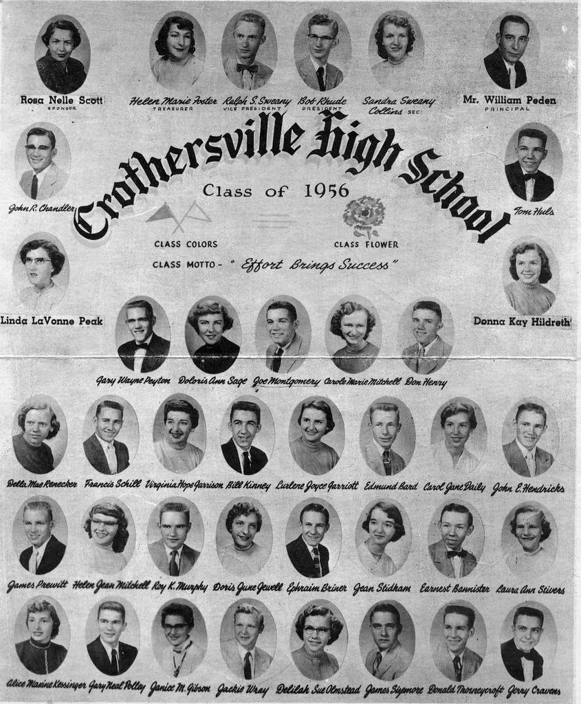 Crothersville High School Class of 1956. - from Francis Schill, bw 7x8.5