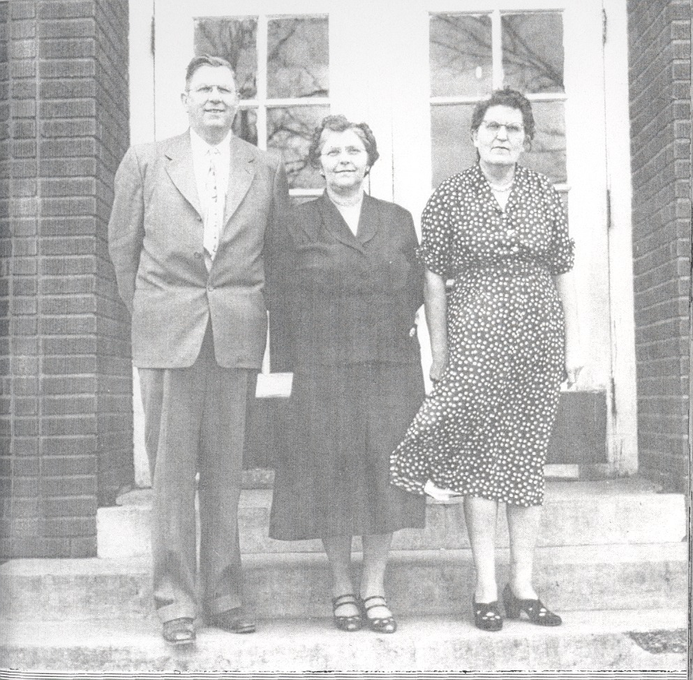 Faculty at 3rd Sparksville School. Mr. C.E. Hurley, Mrs. Lorene Hurley, and Mrs. Vesta McCrary. - from Paul Carr, bw 5x4.87