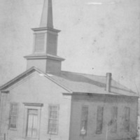 First building of First Methodist Church , Second and Ewing, 1898, Seymour - from Elaine Allman, bw  4x5.75