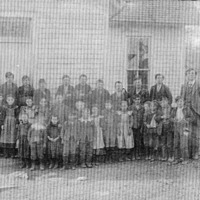 Combs School, Teacher: Max Groff, names listed (not in any order): George Winkler, Cleve Lutes, John Lutes, Mort Browning, Lon Winkler, Will Winkler, Mary Lutes, and Pearl Lutes. - from Winfred (Bud) Cornett, bw 7.54x4.81