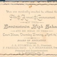 Brownstown High School Invitation and Commencement Program 1887