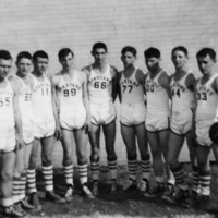 1949-1951? Boys Basketball Team, Freetown High School, Freetown, IN. L-R: Don Bloom, Dorence/Larence? (twins) Pearson, Bill Rotert, James Fields, Homer Fields, Roy LaFollette, Chuck Scott, Dorence/Larence? (twins), and Fred Todd. - from Freida Duchaine, bw 4.55x2.96