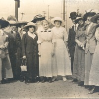 Ladies with hats at railroad station in 1900s - from Polly Schneck, bw 4.0 x 2.25