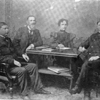 1899 Public Library Directors and  Librarian, W. P. Masters, C. C. Frey, Miss Lucy Boake, J. W. Conner - from Elaine Allman, bw 6.18 x 4.90