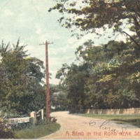 Bend in the Road near Seymour, Taken in 1907 by American News Co., N.York, Leipzig, Berlin, Dresden, Germany - from Ida and Kenny Wehmiller, C-5.41x3.44