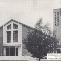 Redeemer Lutheran Church on N. Walnut St., Seymour, IN, Postcard by Sheets Photo, The Tecraft Co., N.J. - from Ida and Kenny Wehmiller, bw 5.46x3.21