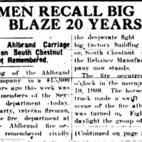 Ahlbrand Carriage Blaze 11 April 1929
