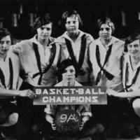 Basketball champions 9As 1927 freshmen. L-R A. Miller, A. Steinwedel, Payne, Barnett, Sweazey - from Elaine Allman, bw 6.23x3.76.
