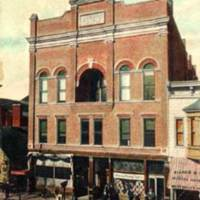 Seymour, Indiana: N side W 2nd St between Chestnut & Walnut: Masonic Lodge, post office & bowling alley, early 1900s