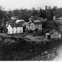 Early 1900s photo of Sparksville, IN looking toward the west. - from Paul Carr, 4 1/2 x 6, bw