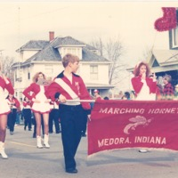 Christmas parade - Marching Medora Band , Medora - from the Seymour Tribune, C 8.32x5.55