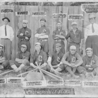 1911 Crothersville Blues baseball team.. Champion of the Louisville City League in 1911. Top row from left: Bard, Best, Liganaur, Harold, Smith, Bruce Bard, Manager. Bottom row from left: Stites, Schifler, Kovenor, Morgan, Boone, Beldon. - from Jeanette Stout, 7 x 5, bw