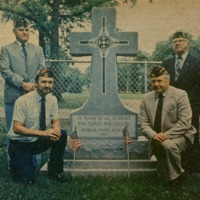 Veterans from American Legion Post 89. Left top - Albert Lucas, WWII, Roy Beldon - WWI. At the bottom are Warren Lucas, Vietnam War; James Belding, Korean War. - from Doris Lee, Newpaper, color.