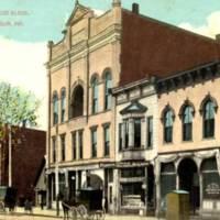 Seymour, Indiana: N side W 2nd St between Chestnut & Walnut: Masonic Lodge Building, opera house & post office, 1917
