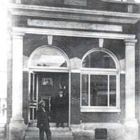 Citizens Bank on the east side of Perry Street, north of the alley between Main and Riley Streets in Medora, about 1911