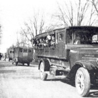 School buses used by Carr Township Schools, Jackson Co., IN during 1930s - from Paul Carr, bw 8x4.54