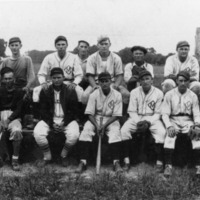 Medora Independent Baseball Team ca 1938. Front row from left: Winfield (Win) Eglen, Lee Bahan, Sam Nowling, Harry Davis, Clifford Stratton. Umpire: Sherman Johnson, Noble Wright,. Team Manager, Cletus Sneed. Back row from left: Melvin Johnson, Pitcher Floyd Stark, Hez Croickett, Kelso Poore, Phayne Phillips, and unknown individual. - from Paul Carr