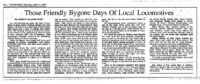 Article from the Brownstown Banner reminiscing about travel by locomotive, Written in 1987
