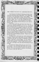 Story of the Womens Society of Christian Service, Vallonia Methodist Church Messenger of 1950. -from Fort Vallonia Museum,  5.25x8.23 bw