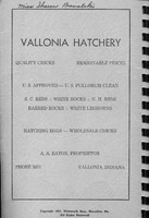Cover page inside with ad for Vallonia Hatchery. Vallonia Methodist Church Messenger from 1950. - from Fort Vallonia Museum,  5.31x8.17 bw